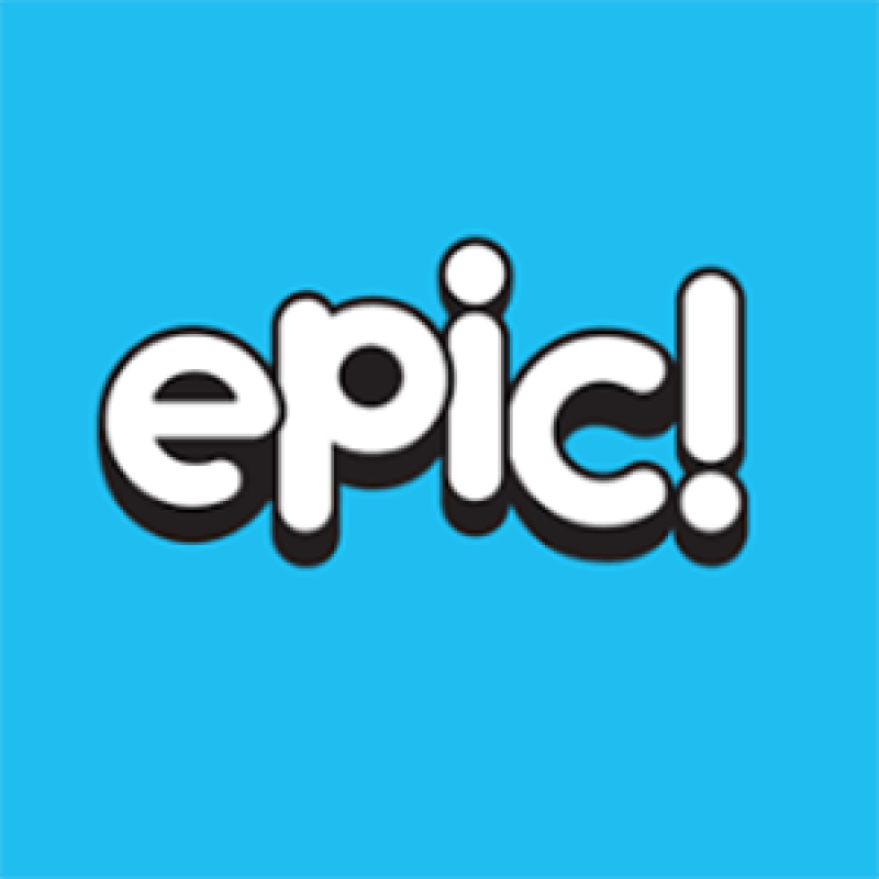 blue and white Epic! app icon