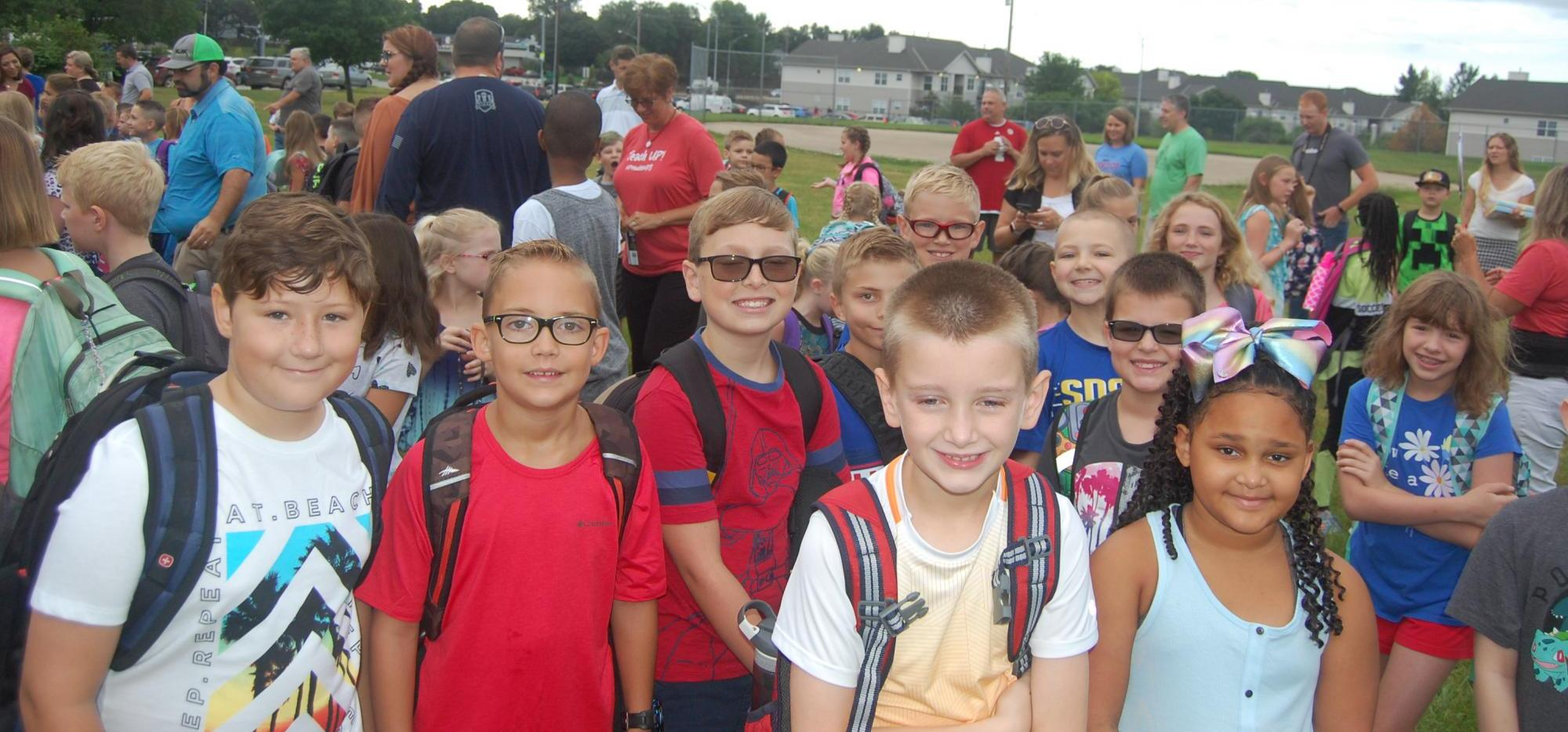 students gather on first day of school